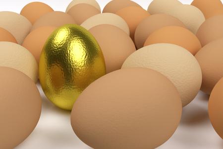 recumbent plain hen eggs and one standing golden egg, 3d rendering 写真素材