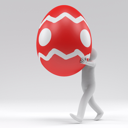 going 3d man hold the big easter egg, 3d rendering