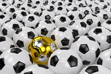 golden soccer ball among ordinary leather white black balls, 3d rendering