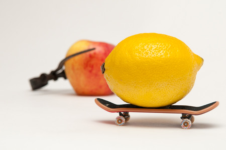 wacky: Lemon on a skateboard to represent sport and healthy living