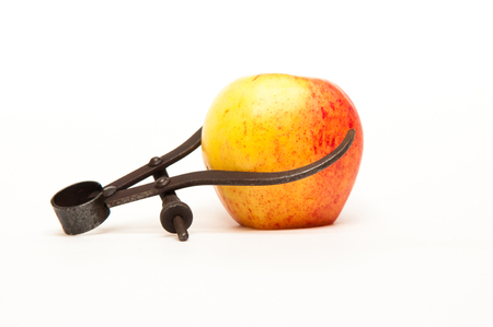 measured: fresh apple being measured to represent weight loss