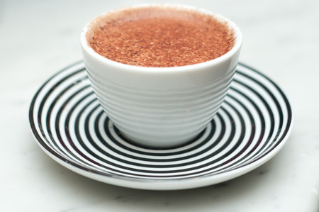 chocolate sprinkles: Freshly made cappuccino, close up with chocolate sprinkles Stock Photo