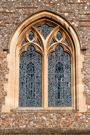 Stained glass window of a Cathedral Stock Photo