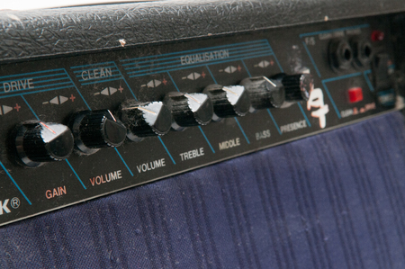 close out: Close up of old worn out guitar amp