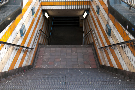 under ground: Stairs to the entrance of an under ground train station Stock Photo