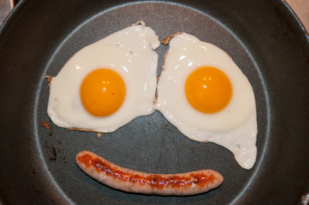 making a face: Two fried eggs and a sausage making a face in the pan