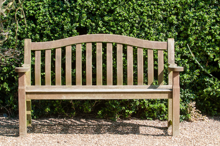 restful: Garden seating on a gravel path with sun shining on the bench