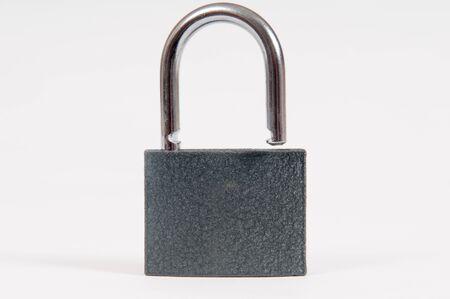 unlocked: Padlock isolated on white in an open , unlocked position Stock Photo