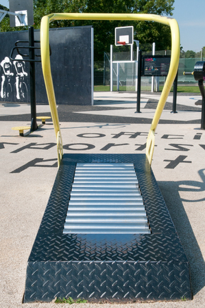 Outdoor treadmill exercise equipment in a park Stock Photo - 65213486