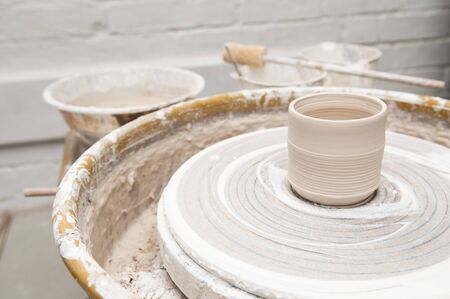 passtime: Pottery wheel and creative tools Stock Photo