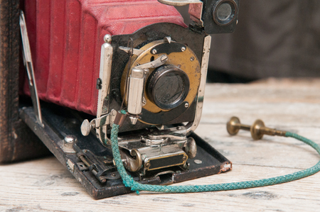 Retro vintage style camera with old fashioned shutter