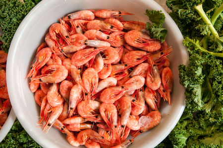 Raw fresh prawns in a large bowl