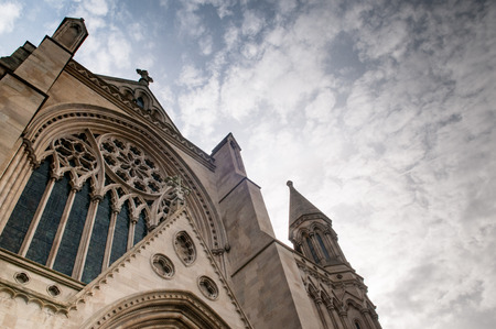 archways: Dramatic church building exterior from a low angle Stock Photo