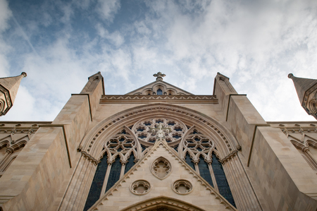 Dramatic church building exterior from a low angle Stock Photo