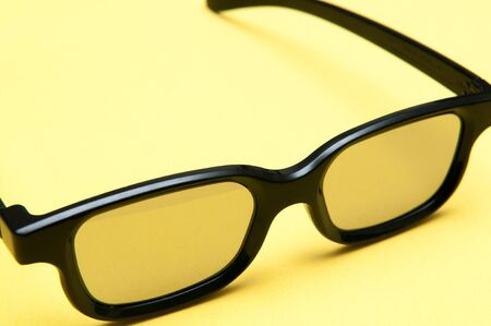 geeky: Glasses with black frame on yellow background