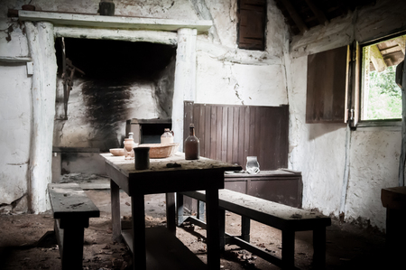 mess: derelict interior of an abandoned house Stock Photo