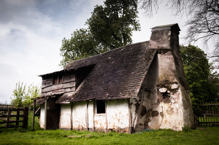 Abandoned ancient house exterior in the countryside