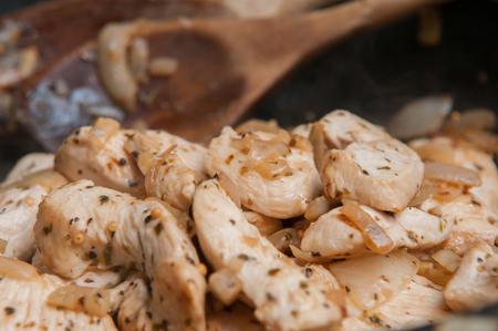 protien: Seasoned Fresh Chicken pieces cooking in the frying pan