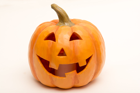 Pumpkin head isolated, carved face for halloween Stock Photo