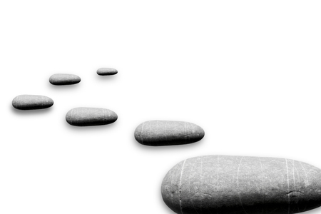 Floating rocks with drop shadow isloated on a white background
