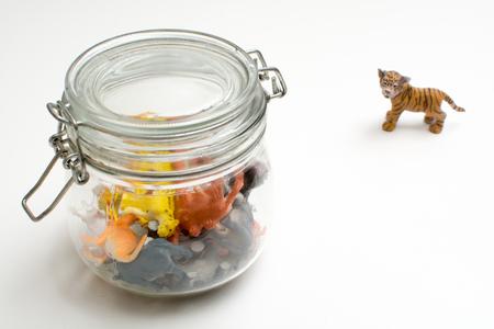 Wild animals in captivity concept of safari animals in a jar