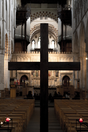 Holy cross in the church for Easter Editorial