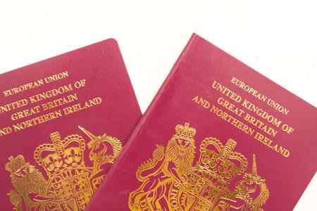 UK Passport isolated on white background, official British passport document