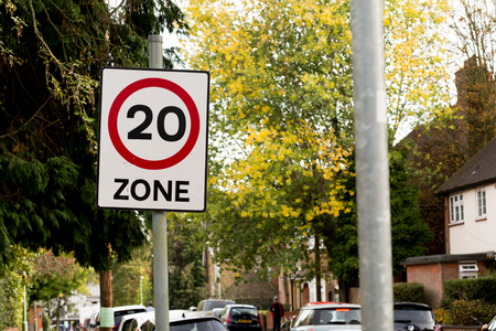 Street sign showing 20 mph speed limit
