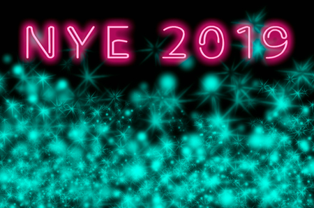 New year's eve poster with neon happy new year text Stock fotó