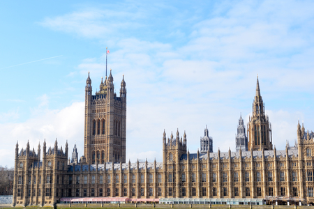 Houses of Parliament, government building and landmark in central London