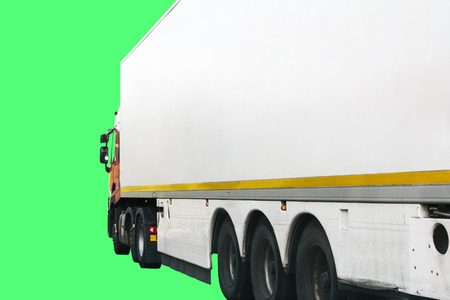 Truck or lorry trailer cut out. Isolated on green screen to add your own background and logo