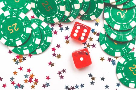 Casino winner background with dice casino chips and decoration