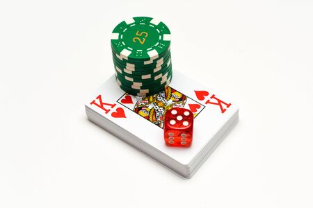 Casino objects playing cards dice casino chips isolated on white for playing chance and gambling games