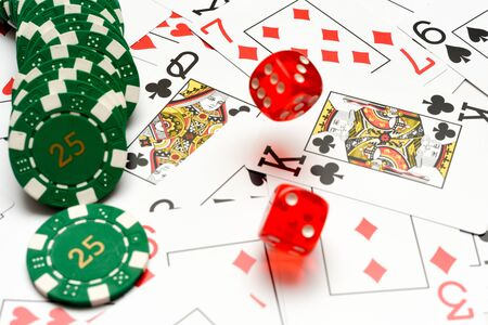 Table games at the casino with cards dice and casino chips