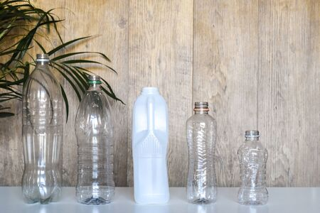 Plastic recycling, plastic bottles and containers from household waste to recycle and re use 写真素材