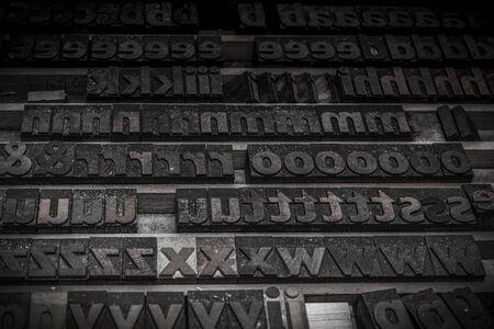 wooden letters blocks from old letterpress alphabet used for typesetting Standard-Bild