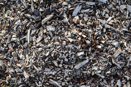 Wood chips overhead angle of bark wood chippings Stock Photo