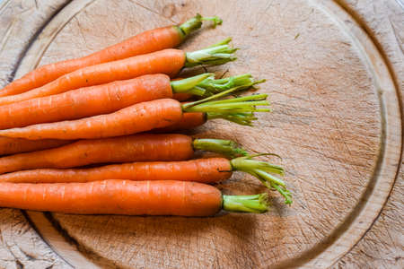 Fresh washed carrots from home grown vegetable patch