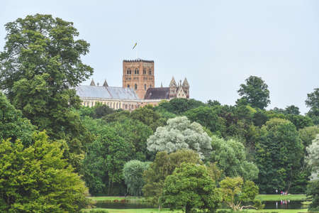 St Albans Cathedral tower viewed from Verulam park in Hertdfordshire UK
