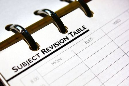 revision: Subject Revision table page from personal organizer.