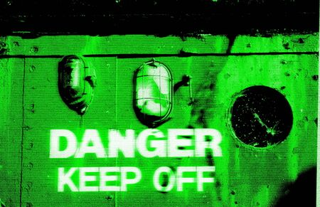 night vision: Danger Keep Off warning in a style as if seen through night vision goggles Stock Photo