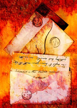 Victorian postal stationery from the 1960s redone in a grunge style
