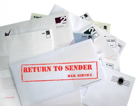 Return to sender. A pile of mail, possibly junk mail, or the recipient has gone away. The most prominent envelope is marked return to sender