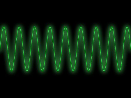 synthesiser: green sine wave oscilloscope display