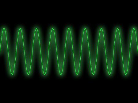 green sine wave oscilloscope display