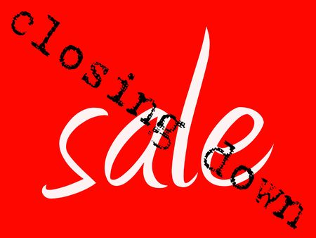 Red sign with white sale wording and black closing down overstamp Stock Photo