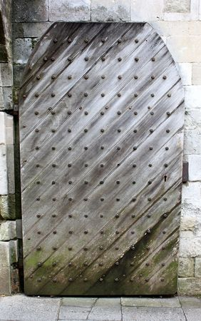 Medieval door patterned with iron studs photo