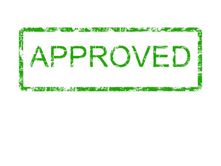 approved: The word approved in a grunge rubber stamp style in the colour green. Suitable for save the earth type campaigns.