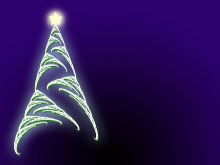 Soft focus Christmas tree and glowing star with copyspace area
