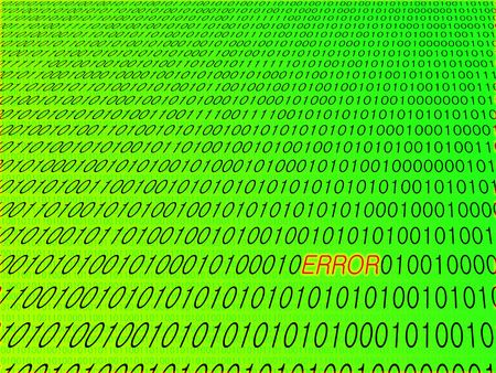 Binary digits in perspective with ERROR text in red with glow effect. Background is graduating luminous green with darker green smaller binary digits. photo